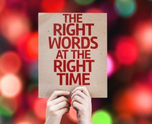 The Right Words At The Right Time card with colorful background